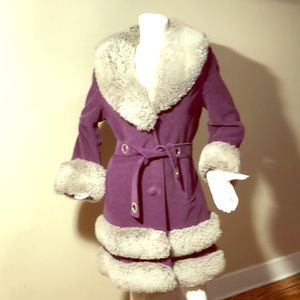 Country Pacer Purple Gray Faux Fur Jacket 10